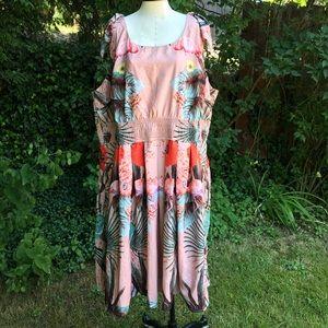 Eshakti Floral Flamingo Print Dress